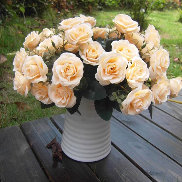 Artificial Rose Silk Flowers 12 Flower Head Leaf Wedding Garden Decor NEW