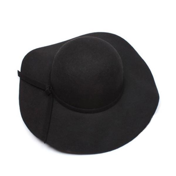 New Stylish Women's Wide Brim Wool Felt Bowler Fedora Hat Floppy Bowknot Cap