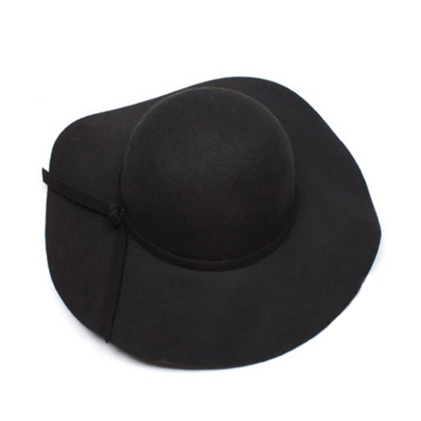 New Vintage Women's Wide Brim Wool Felt Bowler Fedora Hat Floppy Cloche Sun Cap