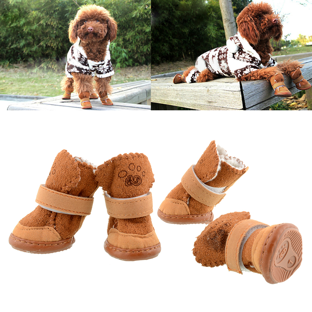 New Warm Adjustable Pet Dog Puppy Winter Anti-slip Cozy shoes Boots 2 Colors
