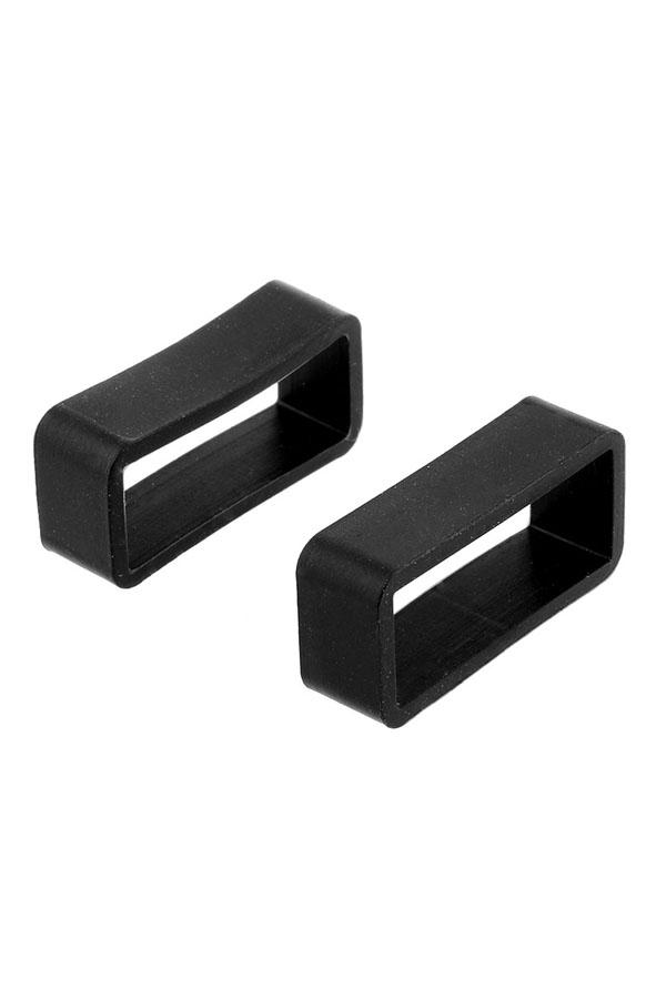 Black Silicone Watch Band Strap Retaining Hoop Loop Keeper Buckle Holder