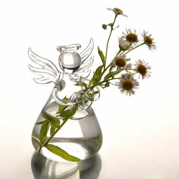 15 Pretty Ways To Decorate A Vase: Cute Clear Hole Glass Angel Shape Flower Plant Hanging