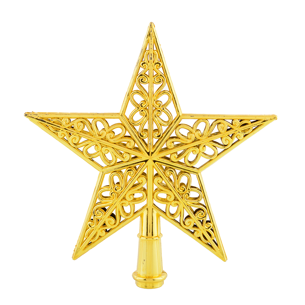 New shiny gold silver christmas star tree topper pendant