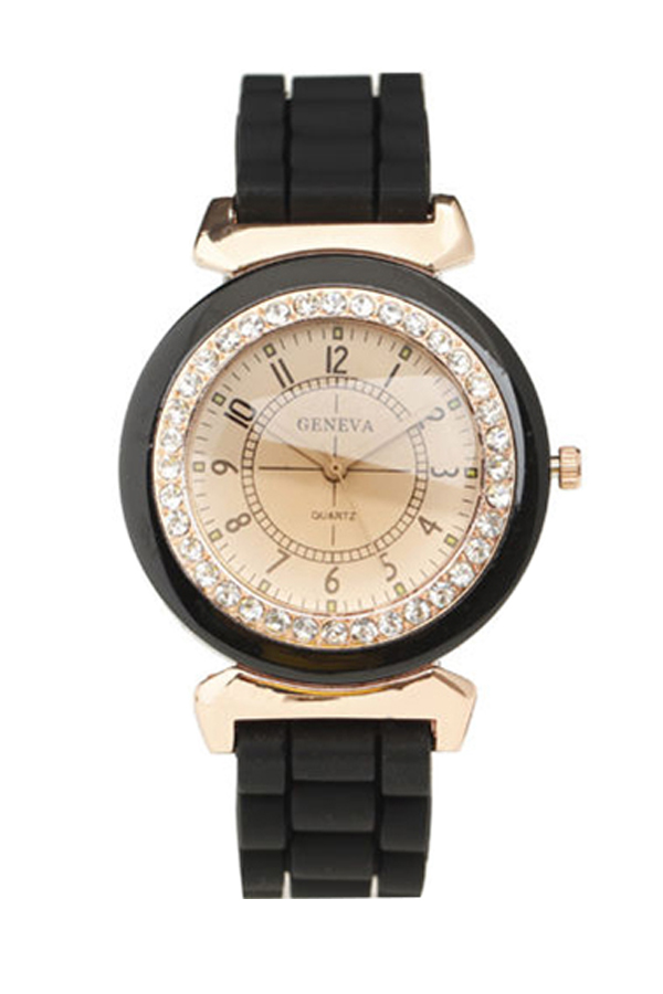Fashion Women's Lady Rhinestone Silicone Strap Band Analog Quartz Wrist Watch