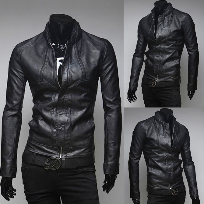 New Winter Men Slim Stand Collar Motorcycle PU Leather Jacket