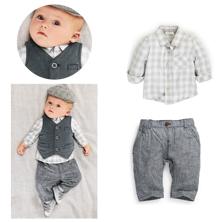 Hot New Toddler baby Boy Waistcoat+Pants+Shirts Clothes Costume Sets 3PCS