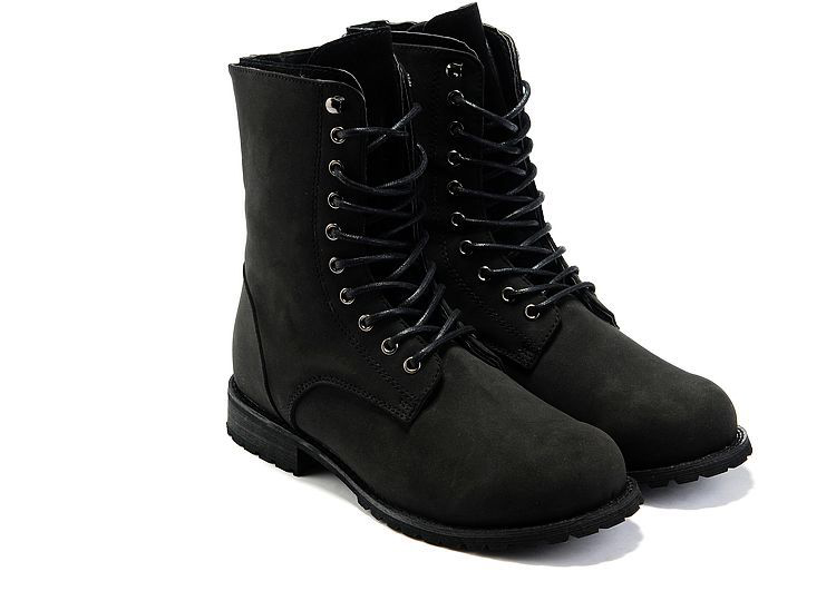 Black Mens Combat Leather Mid Calf Boots Winter Style