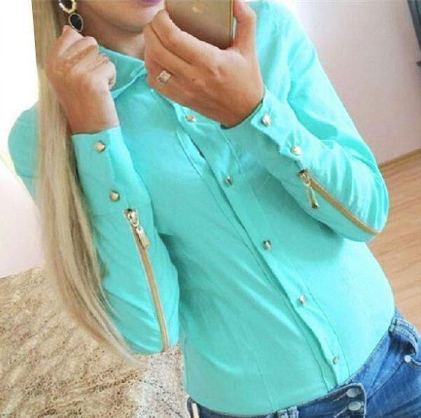 Women's Lapel Zip Rivet Long Sleeves Tops Button Chiffon Casual Blouse Shirt