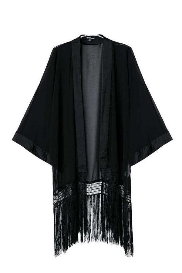 Women Loose Chiffon Tassel Long Sleeve kimonos T-Shirt Tops Cardigan Coat Shirt