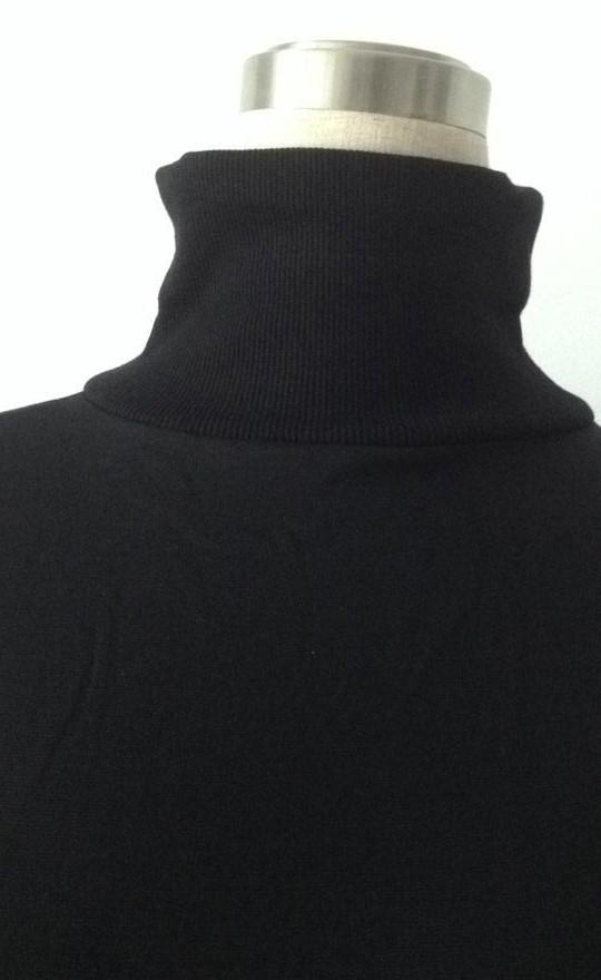 New Fashion Women Turtle Neck Black Sexy Bodycon Knit Solid Casual Mini Dress