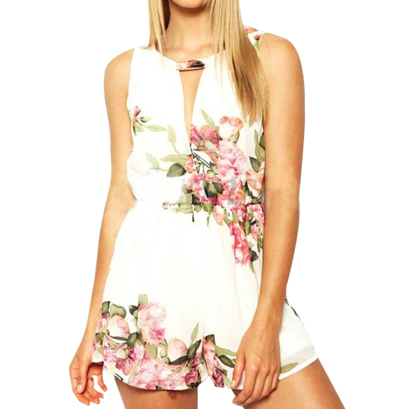 New Women Lady Floral V Neck Sleeveless Hollow Out Jumpsuits Playsuit Romper