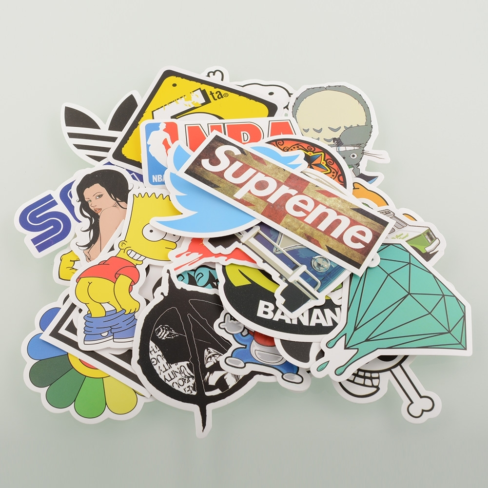 30/50/100 PCS Stickers Skateboard Snowboard Laptop Luggage Car Decals mix
