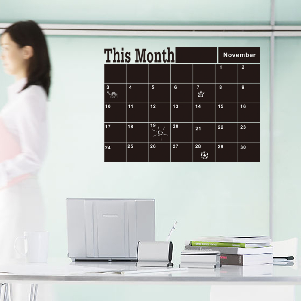 November Chalkboard Calendar Ideas : Monthly chalkboard chalk blackboard wall sticker decor