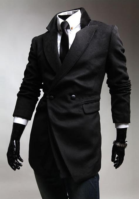 New Men's Double Breast Coat Slim Fit Warm Jacket Black Windbreaker Outwear
