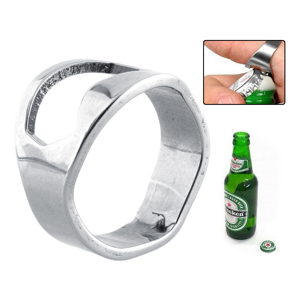 new stainless steel finger ring bottle opener beer party bottle open silver ebay. Black Bedroom Furniture Sets. Home Design Ideas