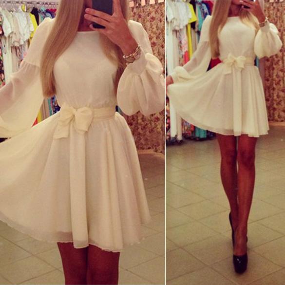 New Women Elegant White Chiffon Bowknot Slim Puff Sleeve O Neck Mini Dress