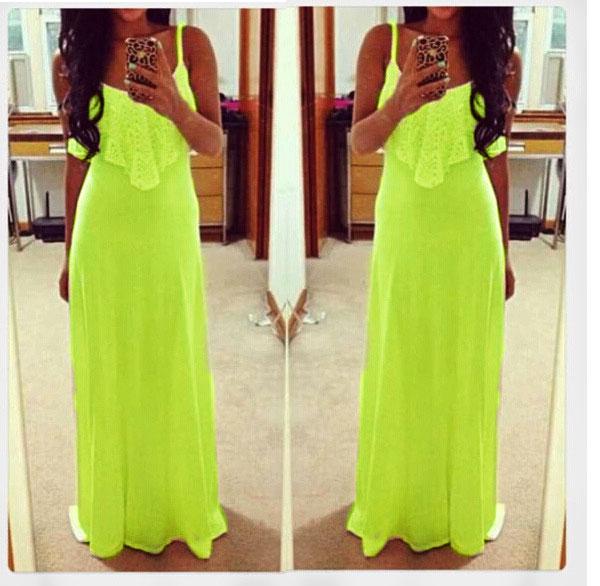 New Fashion Women Lady Loose Bohemian Drape Lace Sleeveless Long Maxi Dress