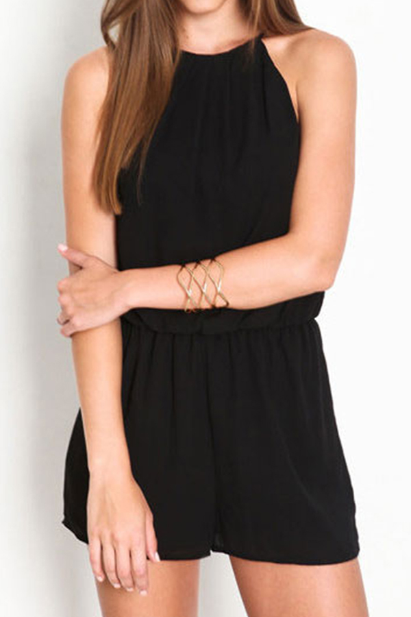 New Fashion Women Lady Halter Sleeveless Chiffon Fit Hollow Out Jumpsuit Romper