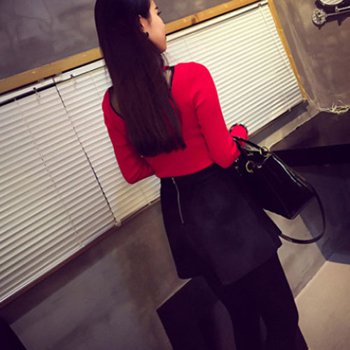 New Women Lady Knit Long Sleeve Bodycon O Neck Splicing Veil Tops Party Sweater