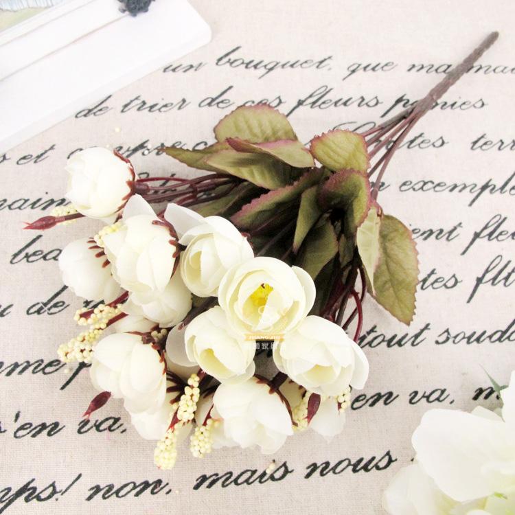 Artificial Rose Silk Flowers 18 Flower Heads Camellia Peony Bouquet Decor