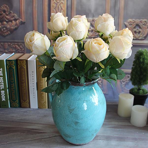 French Bouquet Artificial Peony Flower Spring Tea Rose Bud Hydrangea Decor