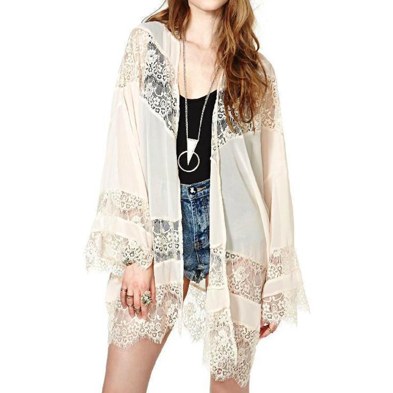 Summer Women Loose kimono Top Casual Sunblock Coat Jacket Lace Splice Cardigan