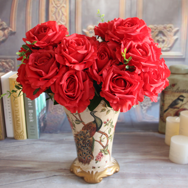 Wedding 9 Rose Heads Fake Artificial Flower Big Silk Cream Rose Room Arrangment