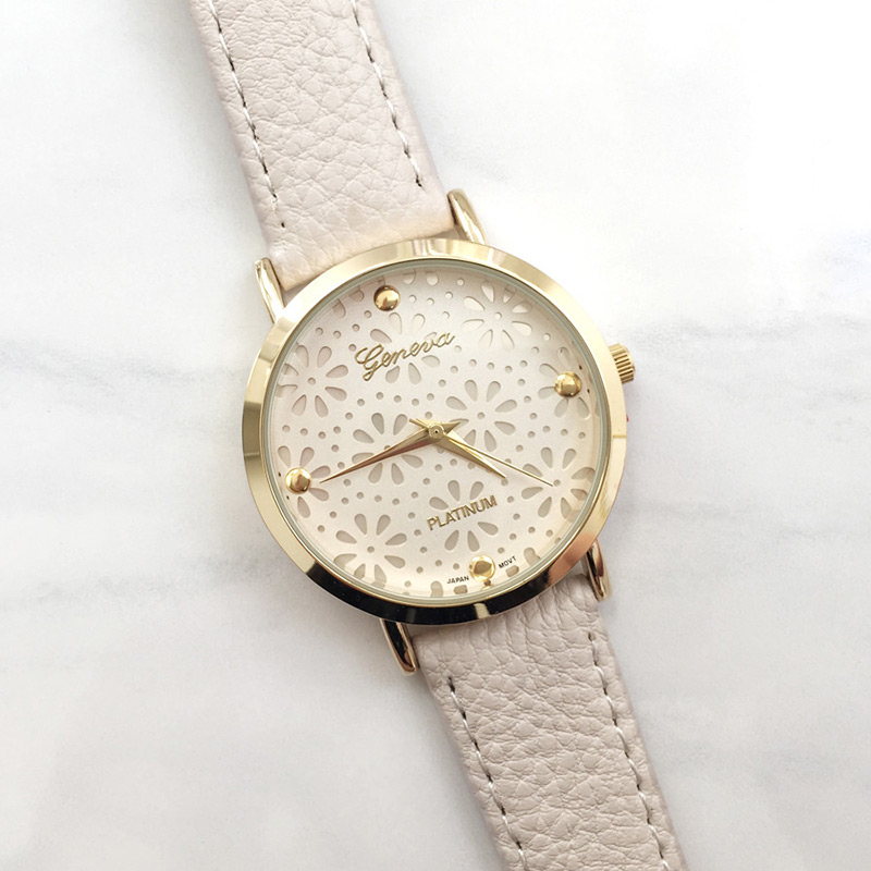 Hot Pure Geneva Women's Ladies Flower Quartz Leather Band Wristwatch Gift
