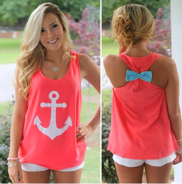 Fashion Women Anchor Sleeveless Vest Tank Top Blouse Tee Shirt T-Shirt
