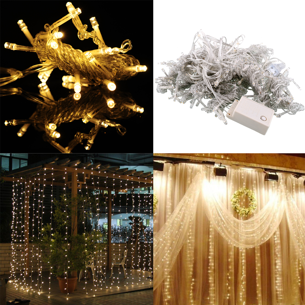 Wedding String Lights Diy : 3Mx3M-300-LED-Xmas-Party-String-Wedding-Curtain-Light-110V-Room-Decor