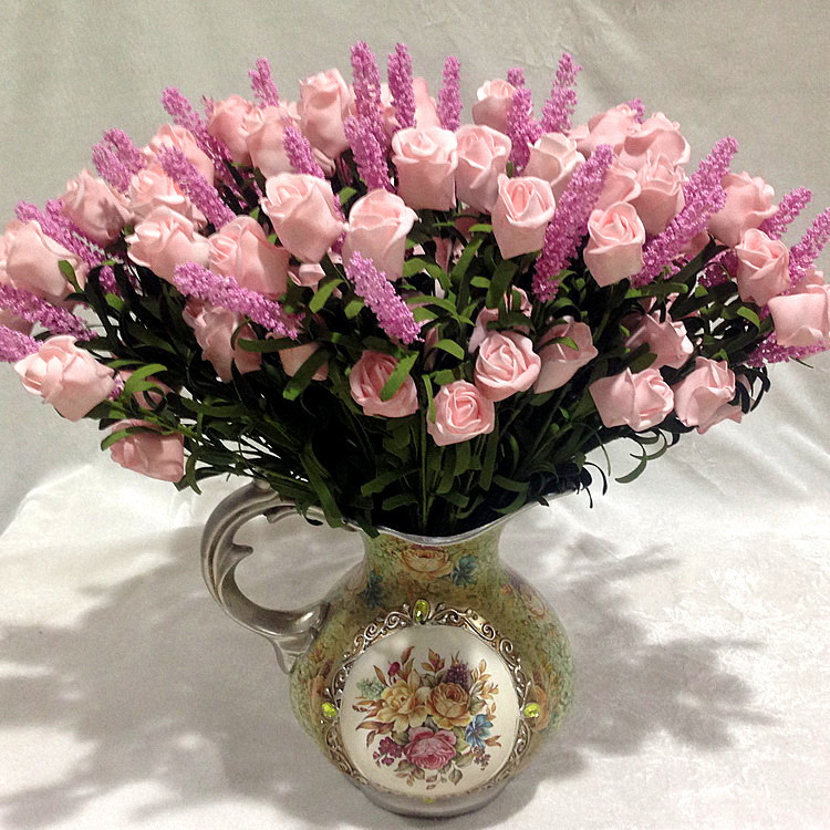 Wedding 9 heads lavender rose artificial silk flowers for Artificial flower for wedding decoration