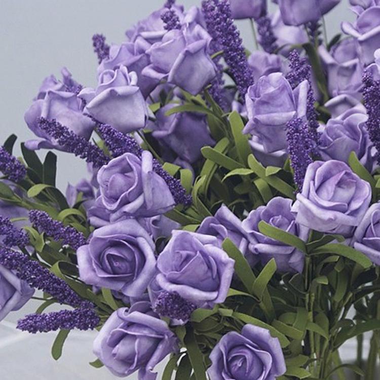 Wedding Bridal 9 Heads Lavender Rose Artificial Silk Flowers Bouquet Home Decor