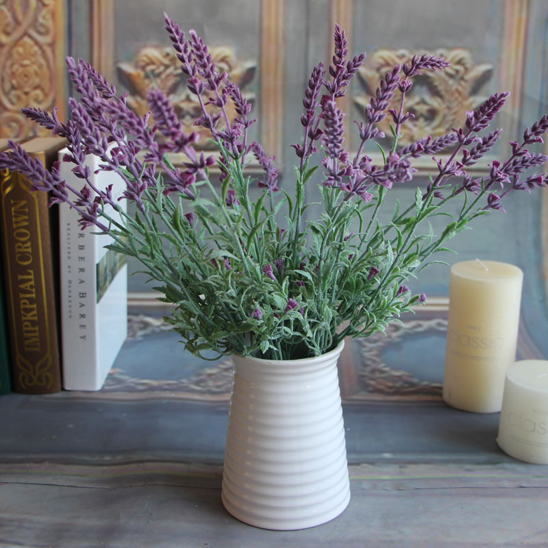 Fresh Green Fake Plants Flower Lavender Leaves Grass Garden Flowers Arrangement