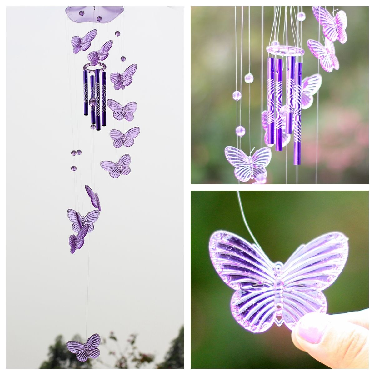 Creative Crystal Erfly Wind Chime Bell Ornament Garden