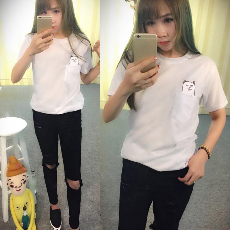 Men Womens Soft Cotton Short Sleeve T-shirts Cat Pocket Blouse Tops Shirts