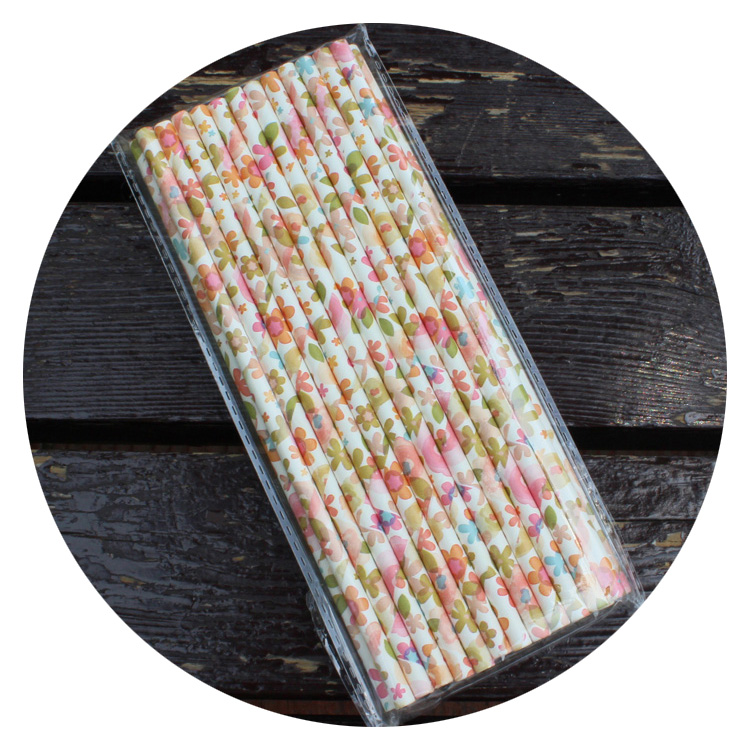 25Pcs Paper Drinking Straws Vintage Flower Floral Birthday Party Traveling