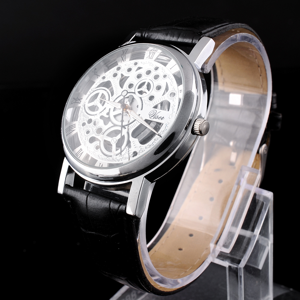 3A51-Skeleton-Dial-Mens-Leather-Band-Stainless-Steel-Dial-Wrist-Watch-Hour-NEW