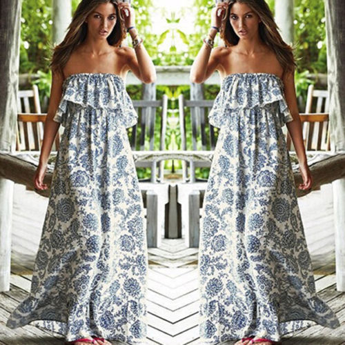 Sexy Women Summer Chiffon Evening Party Long Sundress Maxi Dress Beach Dresses