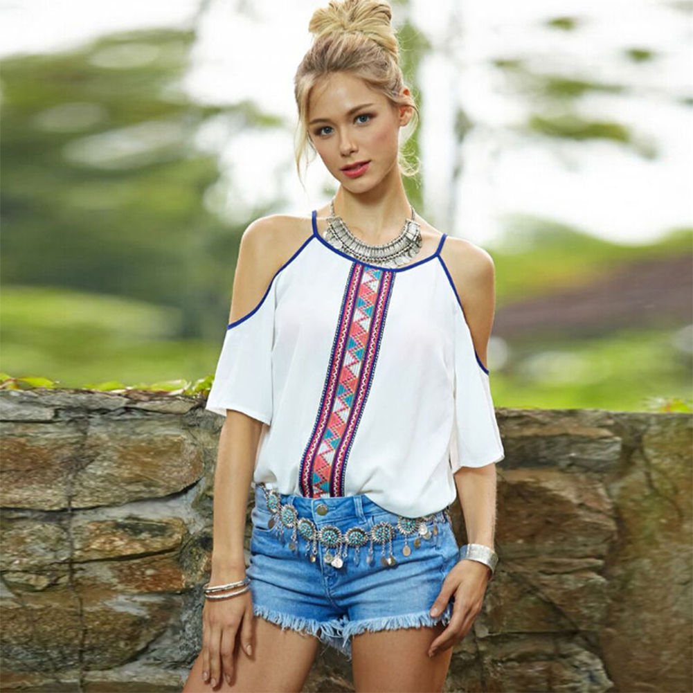 New Women Lady Summer Casual O Neck Off Shoulder Floral Top Blouse T-Shirt
