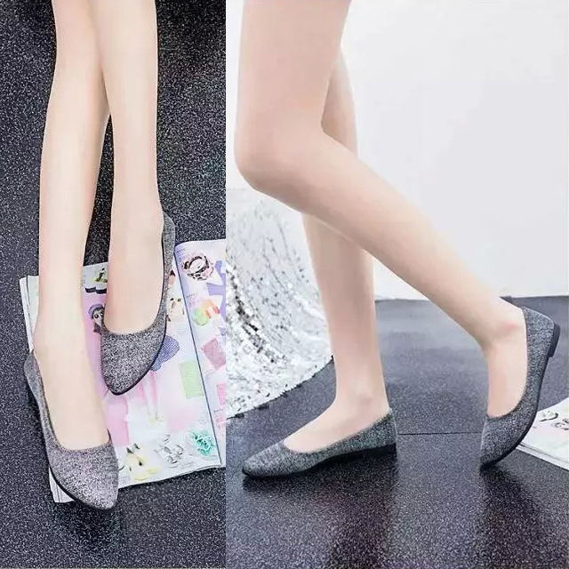 Women Lady Sequin Slip On Loafers Poited Toe Flats Oxfords Ballet Shoes