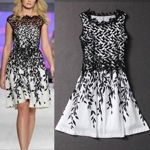 New Women Sexy Sexy Leaf Lace Sleeveless A-Line Mini Evening Party Dress