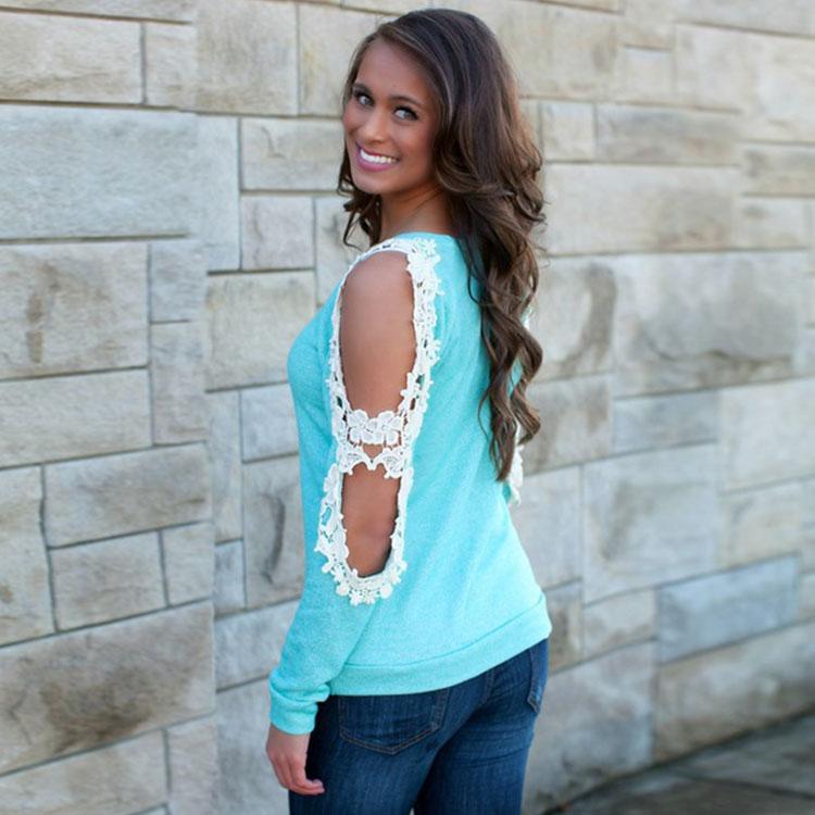 New Fashion Summer long Sleeve Casual Women Lace T-shirt TOP tank Tops