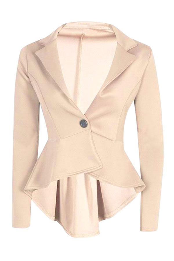 New Women Lady Fashion Slim V Neck Peplum Frill Tops Blouse Jacket Coat