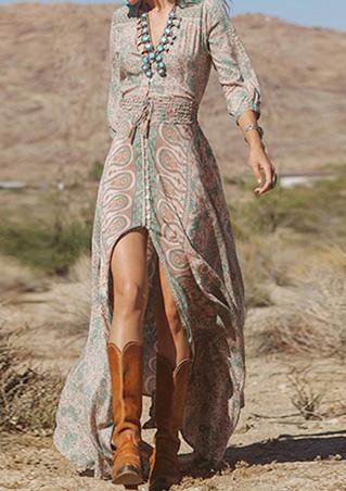Women Lady Beach Boho V Neck Floral Evening Split Long Maxi Sundress Dress