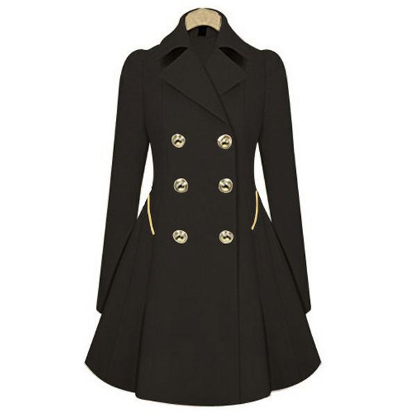 New Women Pleated Parka Outwear Jacket Long Overcoat Blazer Windbreaker Coats