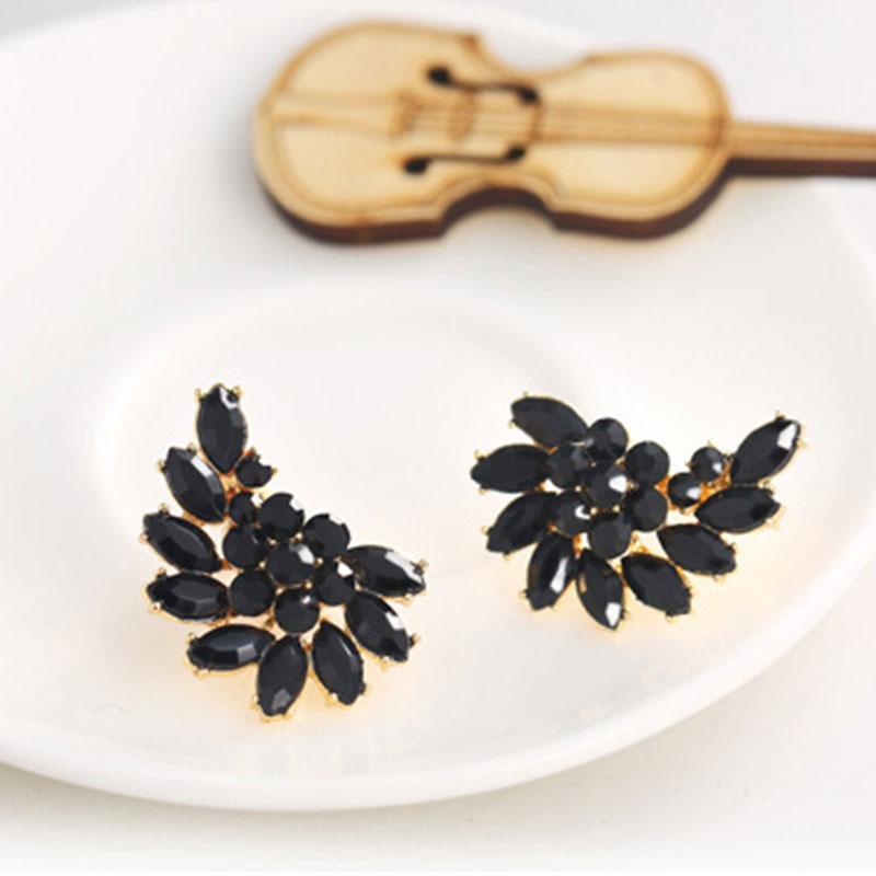 Womens Fashion Elegant Jewelry Crystal Ear Stud Earrings European Flower