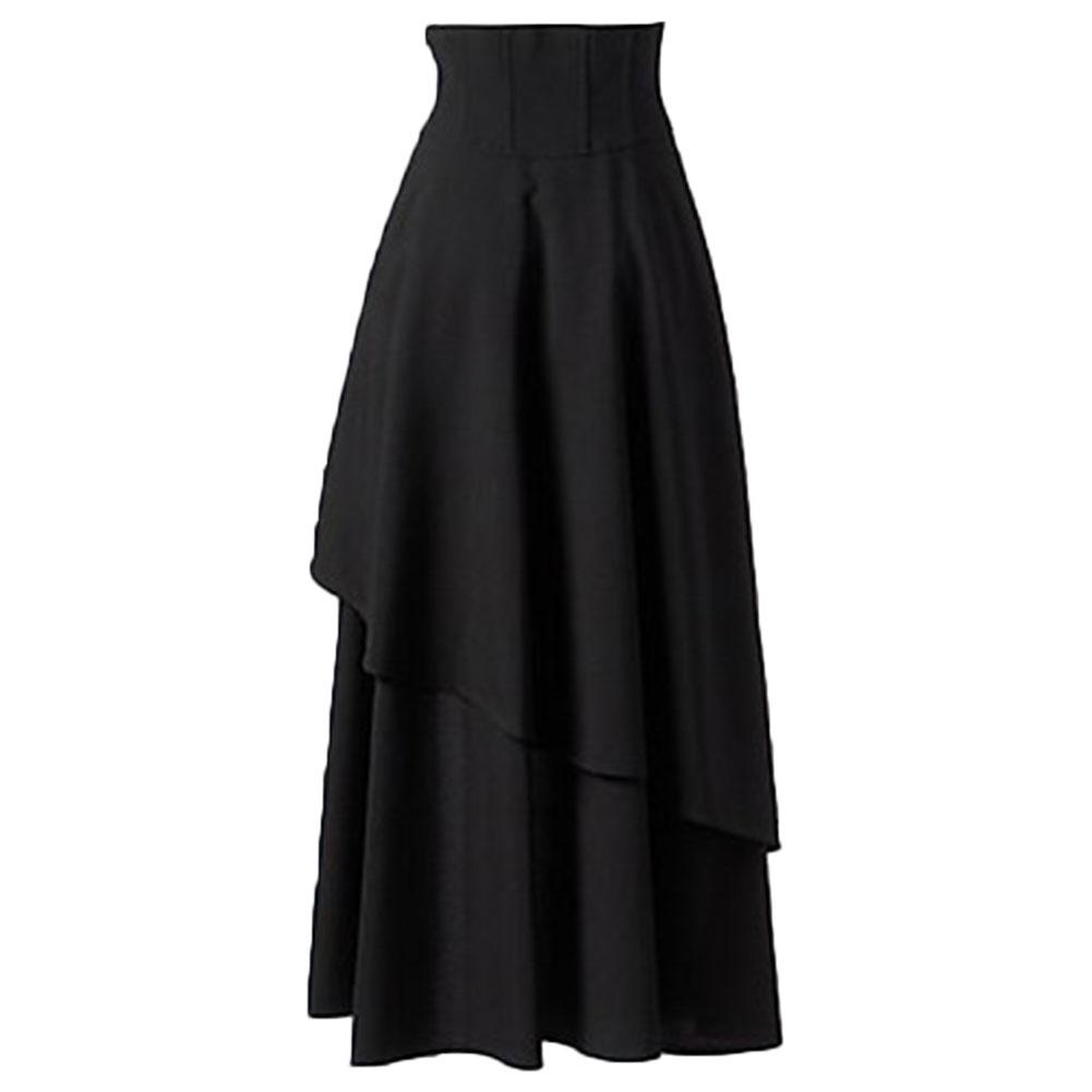 Woman Cross Party Lolita Gothic Irregular High Waist Layers Long Skirt