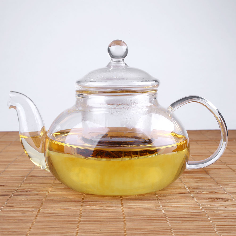 New heat glass teapot with infuser leaf warmer tea pot set 400ml 1000ml ebay - Tea pots with infuser ...