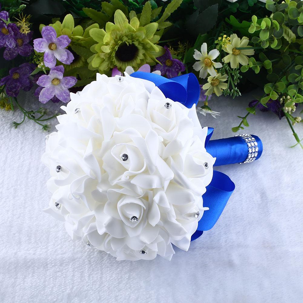 Homemade Wedding Bouquets Silk Flowers : Handmade brooch bride rhinestone wedding bouquet