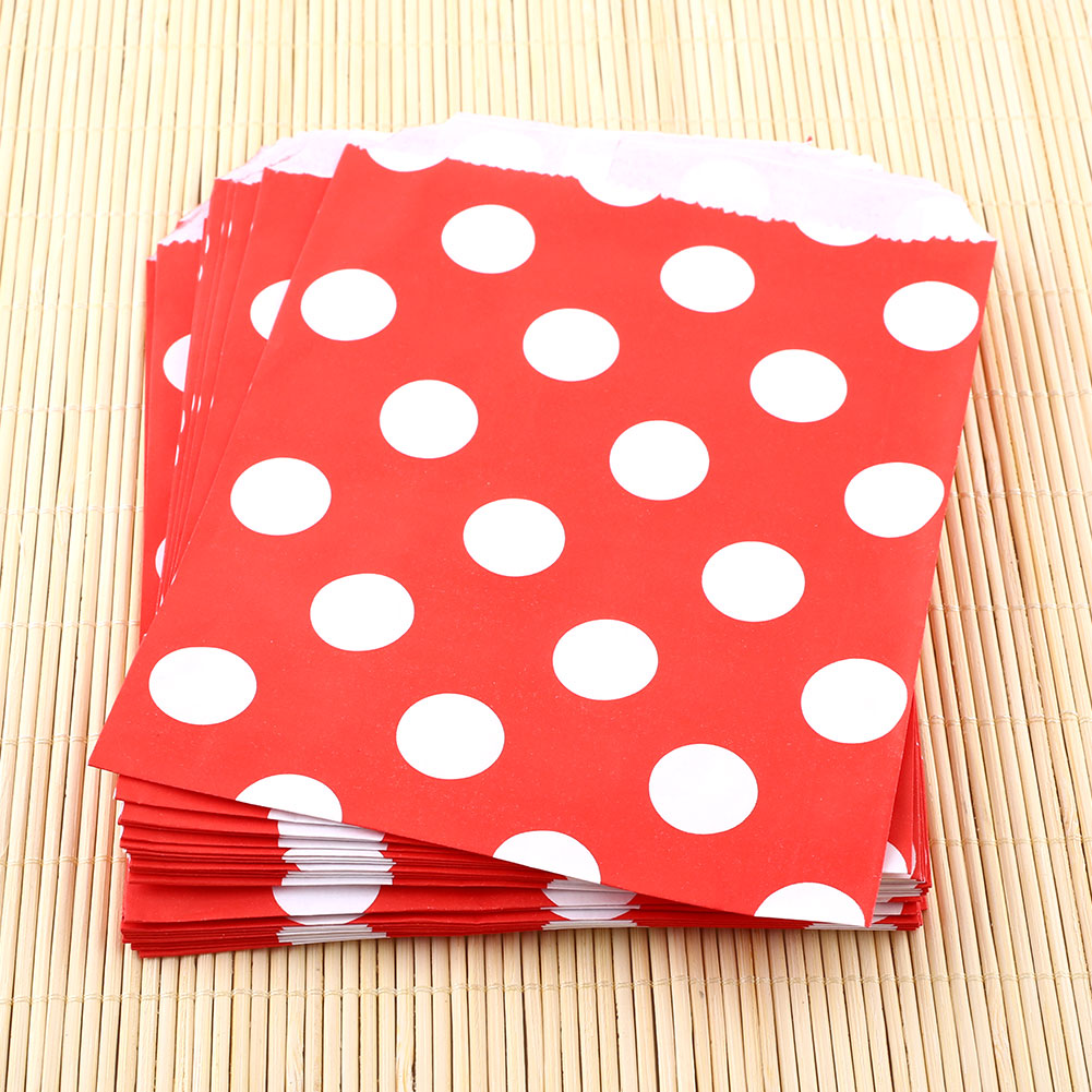 25X Polka Dot Birthday Sweet Candy Favour Popcorn Paper Party Bags 8Color